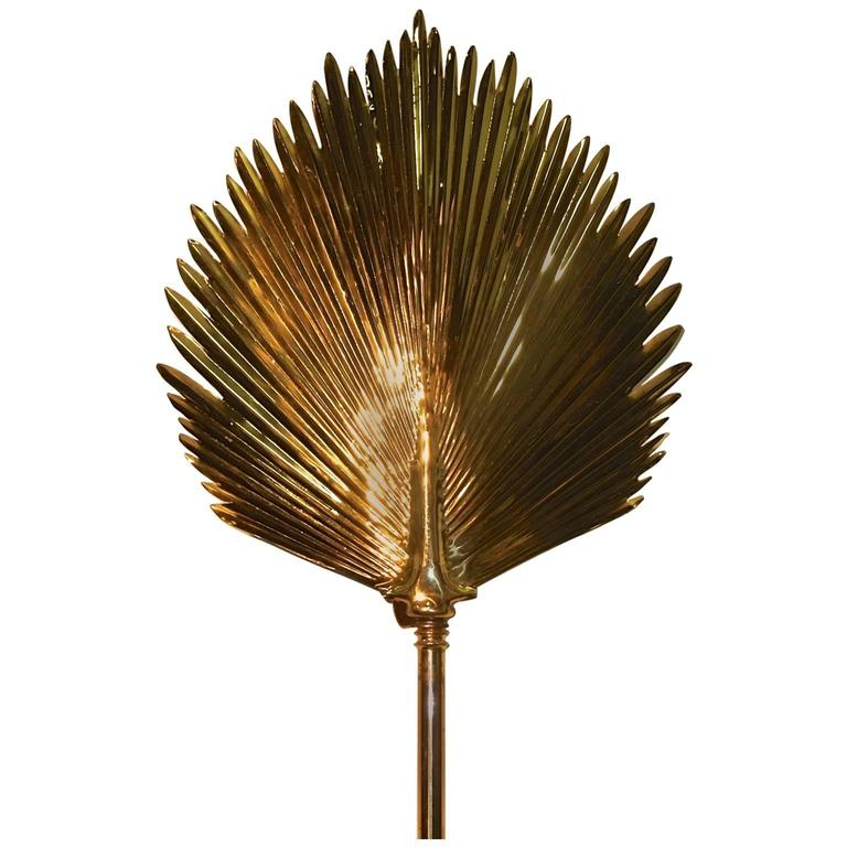 Wall-Mounted Brass Palm Frond Lamp in the Style of Tommaso Barbi For Sale