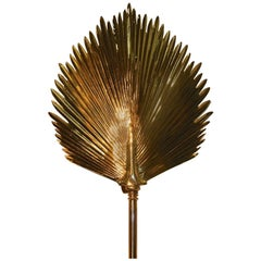 Wall-Mounted Brass Palm Frond Lamp in the Style of Tommaso Barbi
