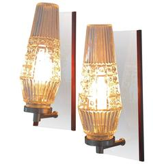 Danish Mid-Century Glass Sconces with Rosewood Details