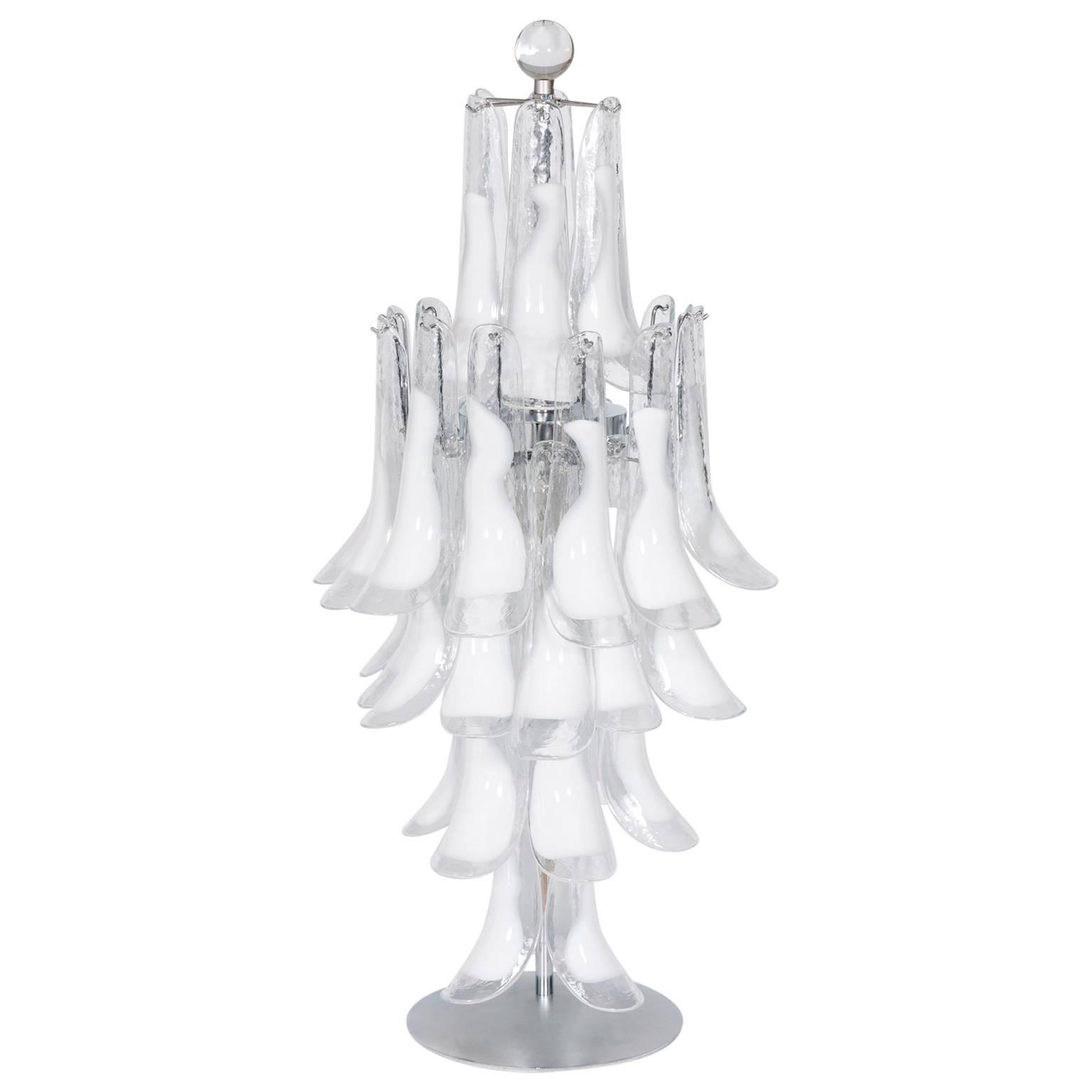 Italian Venetian, Table Lamp, Blown Murano Glass, White Attr to Mazzega, 1970s