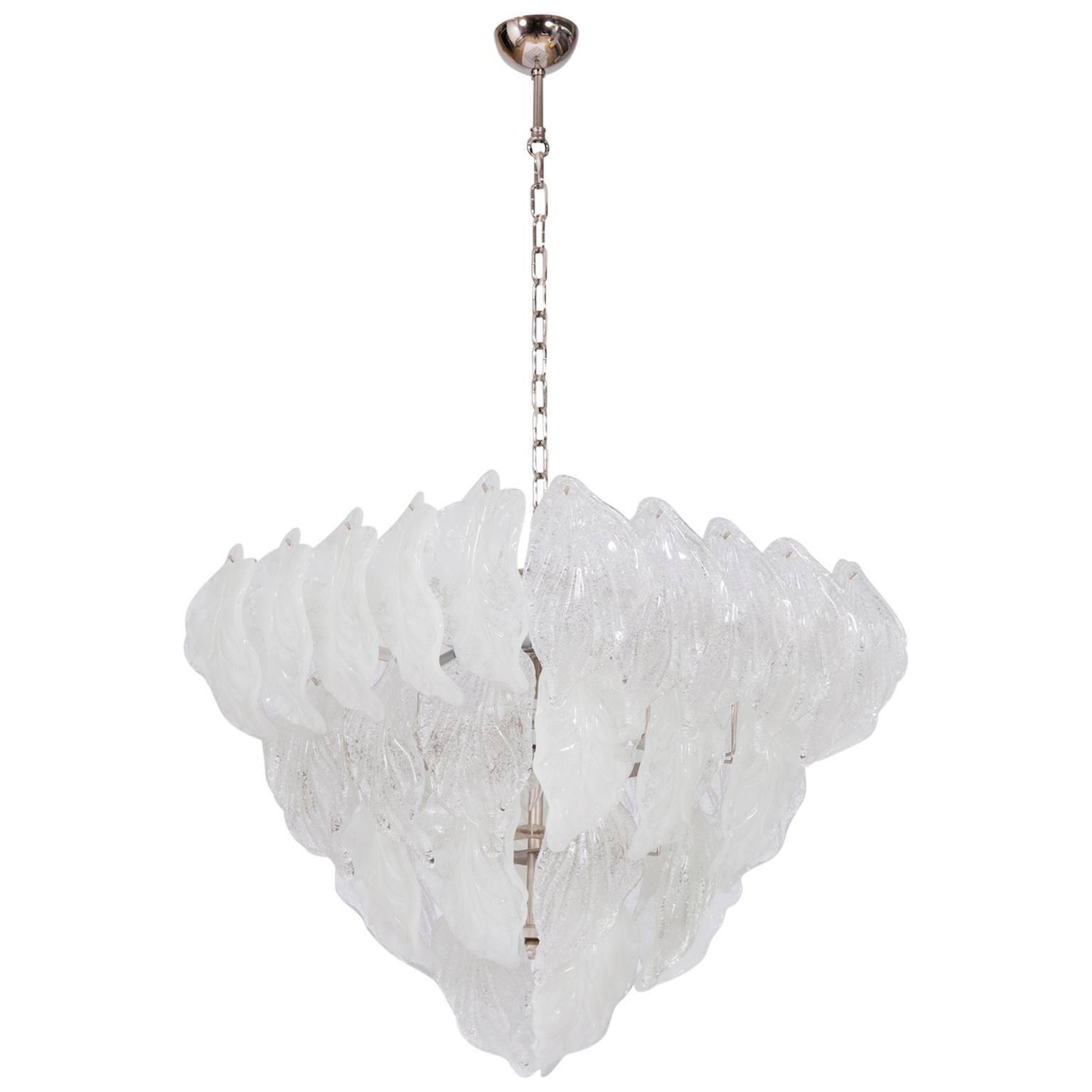 Italian Venetian, Flush Mount, in blown Murano glass, transparent leafs ,1950s