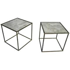 Pair of French Square Gold Metal Bamboo Tables with Mirrored Top
