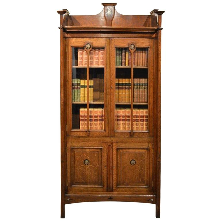 arts and crafts period oak scottish school bookcase at 1stdibs. Black Bedroom Furniture Sets. Home Design Ideas