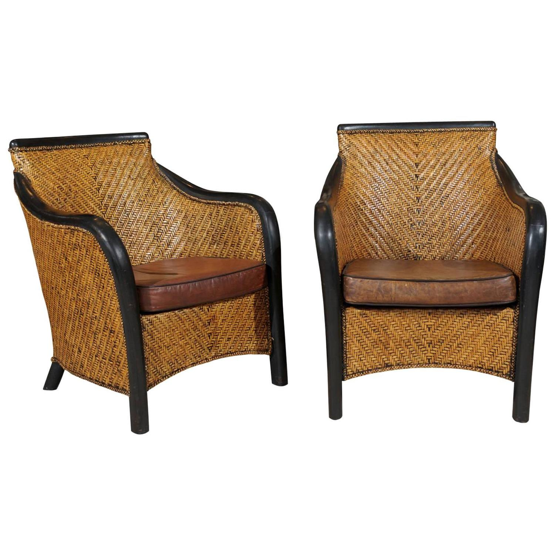 Mid Century Pair of Vintage Rattan Armchairs at 1stdibs