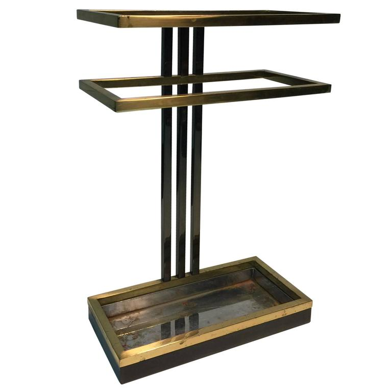 Traditional Umbrella Stand: Modern Umbrella Stand In Chrome And Brass At 1stdibs
