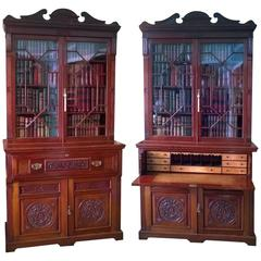 Pair of Late 19th Century Walnut Secretaire Cupboard Bookcases by Gillows