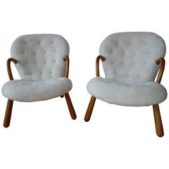 Philip Arctander Pair of 'Clam' Easy Chairs in Sheepskin