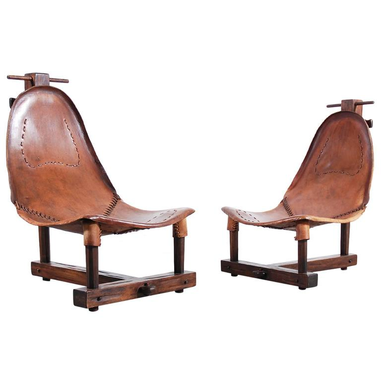 Unusual Pair of Leather Armchairs from 1950
