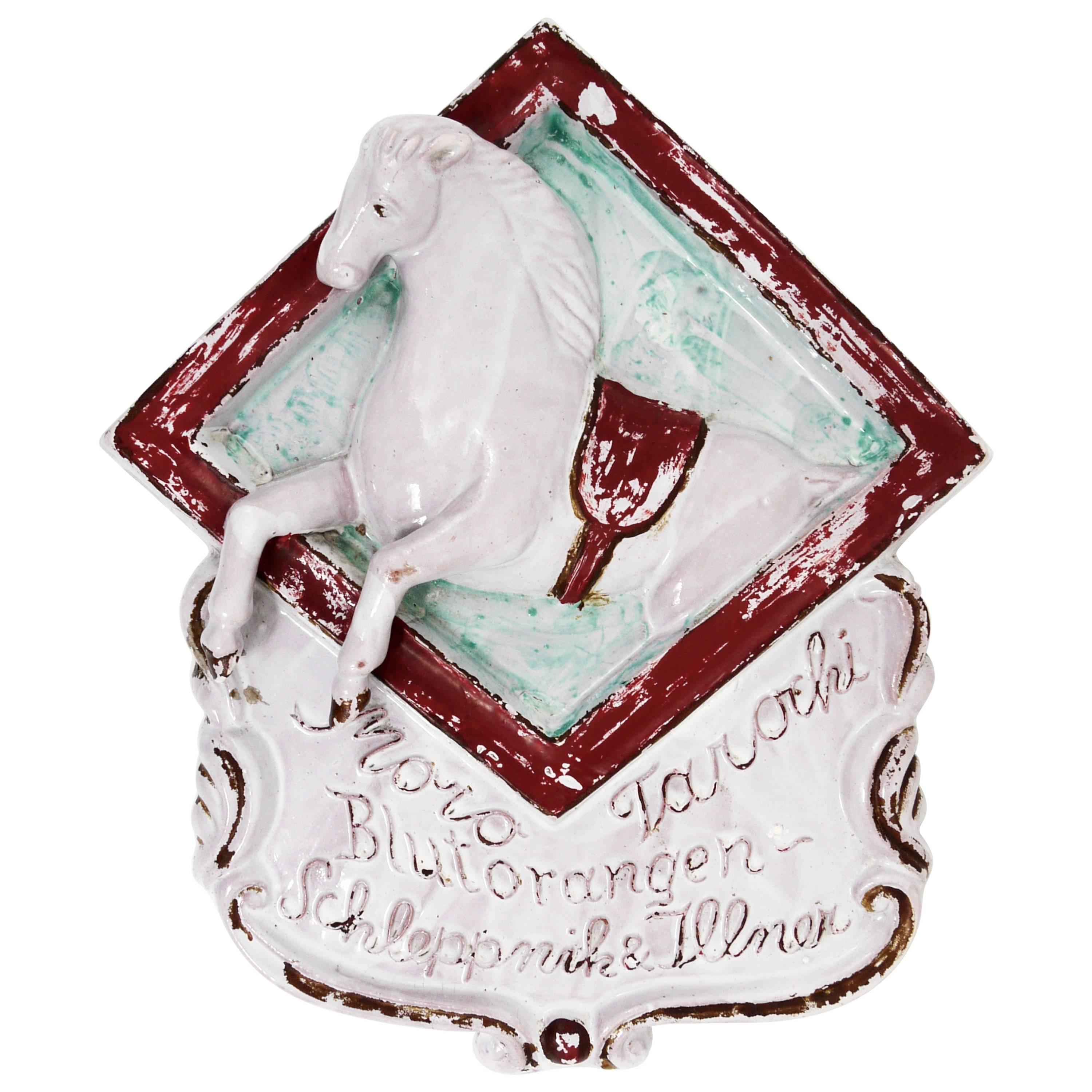 Old Advertising Sign for Blood Oranges Displaying a Horse, Pottery, Italy, 1920s