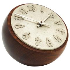 Carl Auböck Modernist Ball Clock, Walnut, Cast-Iron, Austria, 1950s