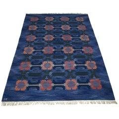 Large Swedish Handwoven Flat-Weave Carpet by Judith Johansson