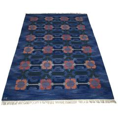 Large Swedish Handwoven Flat-Weave Carpet by Judith Johansson