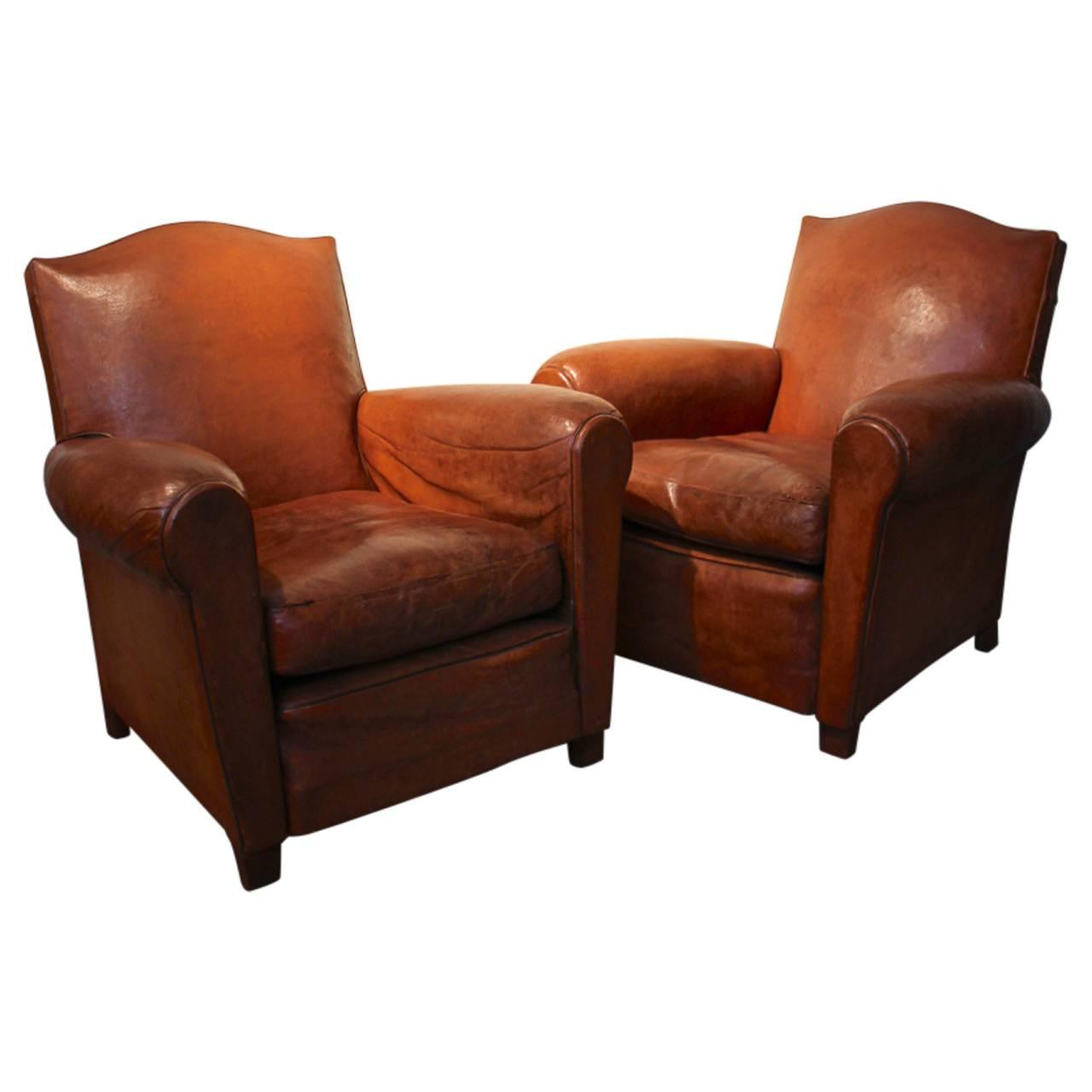 Pair Of Circa 1950s French Leather Club Chairs At 1stdibs