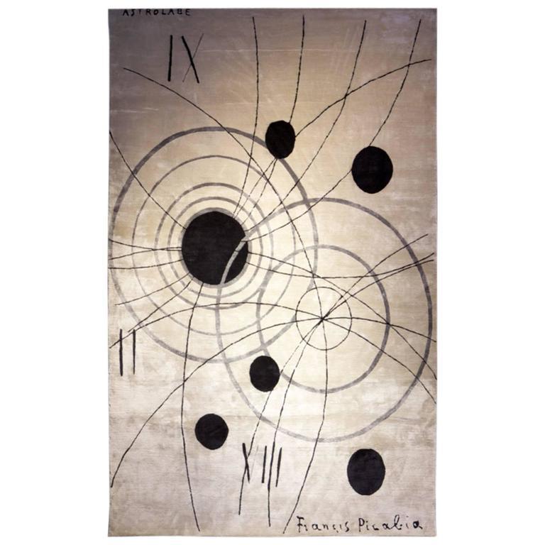 Francis Picabia Astrolab Silk Rug (Ed 6) by Sabine De Gunzburg / Handwoven