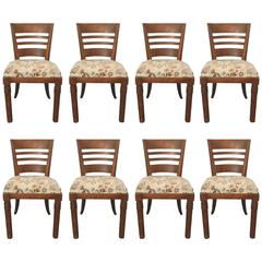 Charles Dudouyt, Set of Eight Oak Chairs, circa 1940