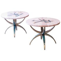 Pepe Mendoza Pair of Rare Tables with Original Tops