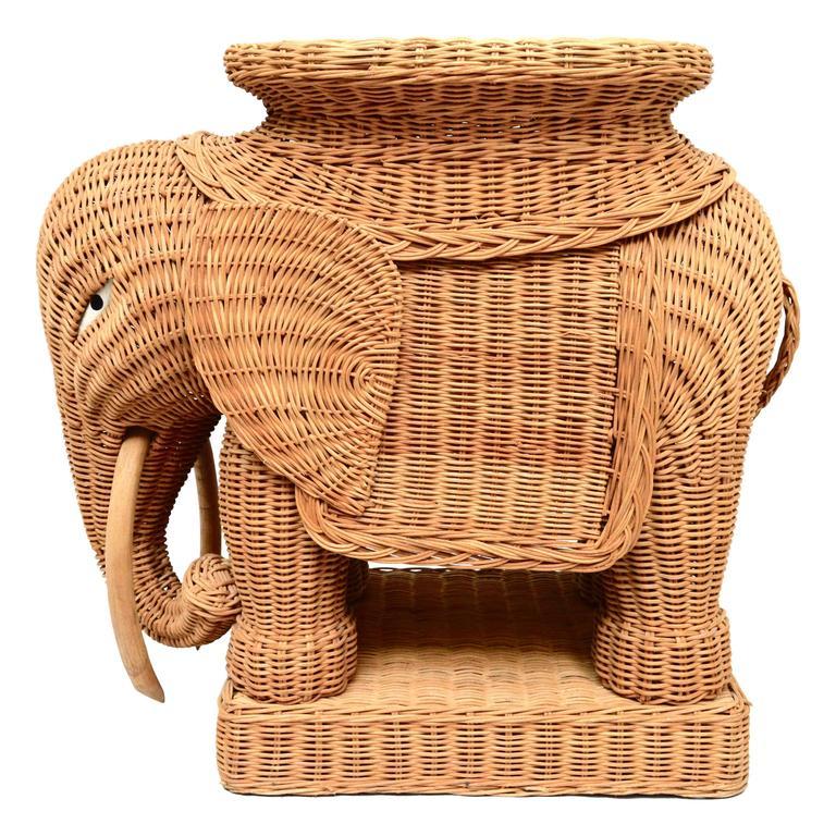 Vintage Italian Wicker Elephant Side Table Or Stool At 1stdibs