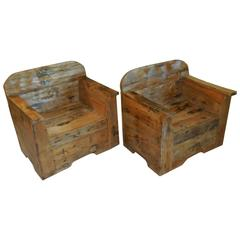 Pair of Exceptional Wood Armchair