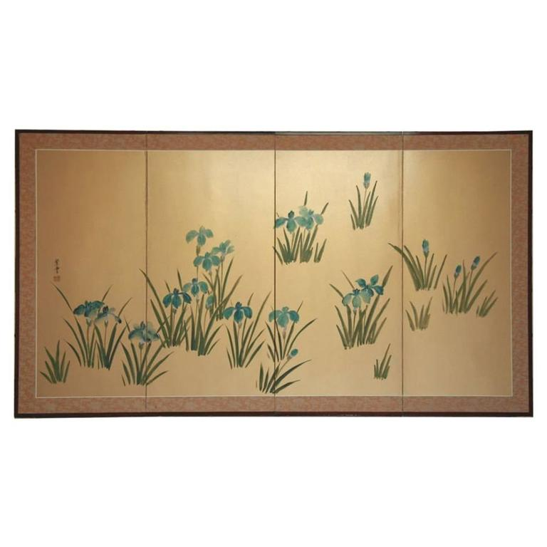 Asian Hand-Painted Panel For Sale