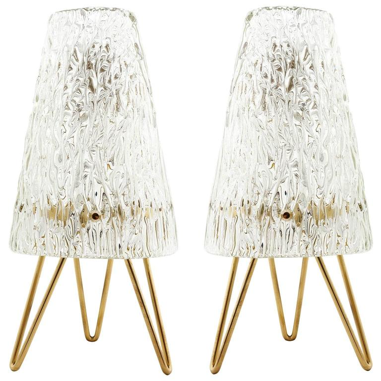 Pair of Kalmar Table Lamps, Brass and Glass, 1950s