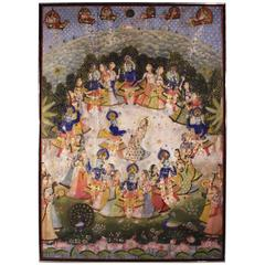 Large Indian Temple Hanging On Silk (Pichwai or Pichhavai)