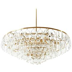 Palwa Chandelier, Brass and Glass, 1960s