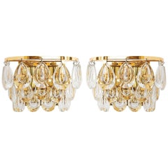 Pair of Palwa Sconces, Gilt Brass Glass, 1960s