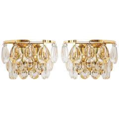 Pair of Palwa Sconces, Gilt Brass Glass, 1960s