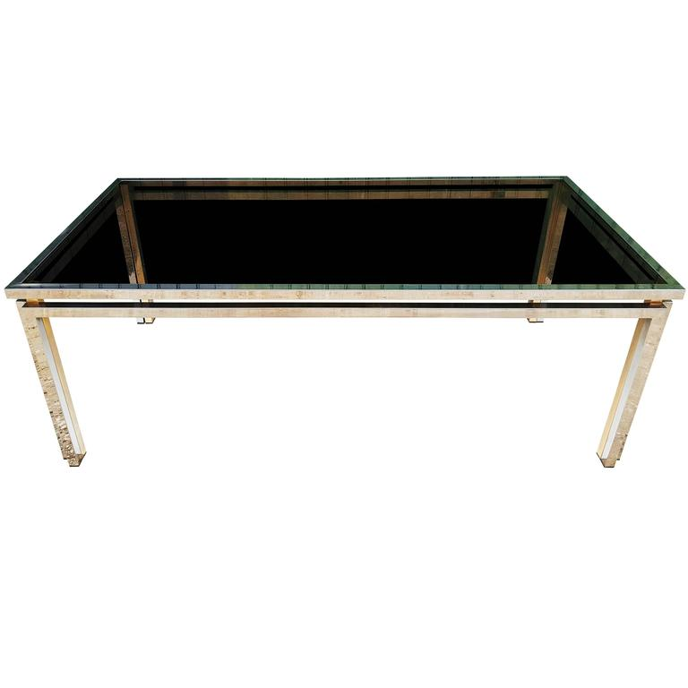 1970s Chrome and Brass Dining Table by Romeo Rega, Italy
