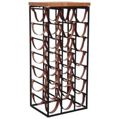 Arthur Umanoff Iron and Leather Wine Rack for 21 Bottles