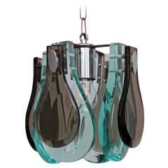 Hängeleuchte mit Muranoglas im Stil von Fontana Arte in exzellentem Zustand
