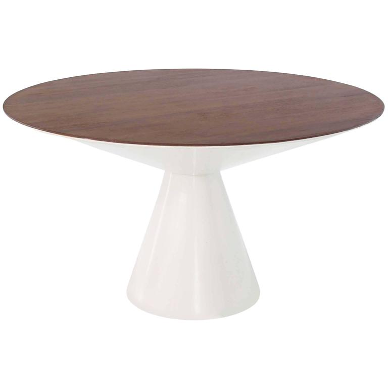 Cone Shape Base Walnut Top Mid Century Round Dining Table At 1stdibs