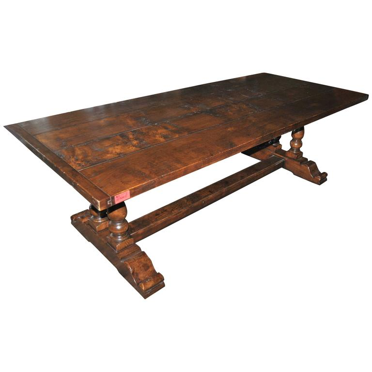 English Oak Trestle Base Table