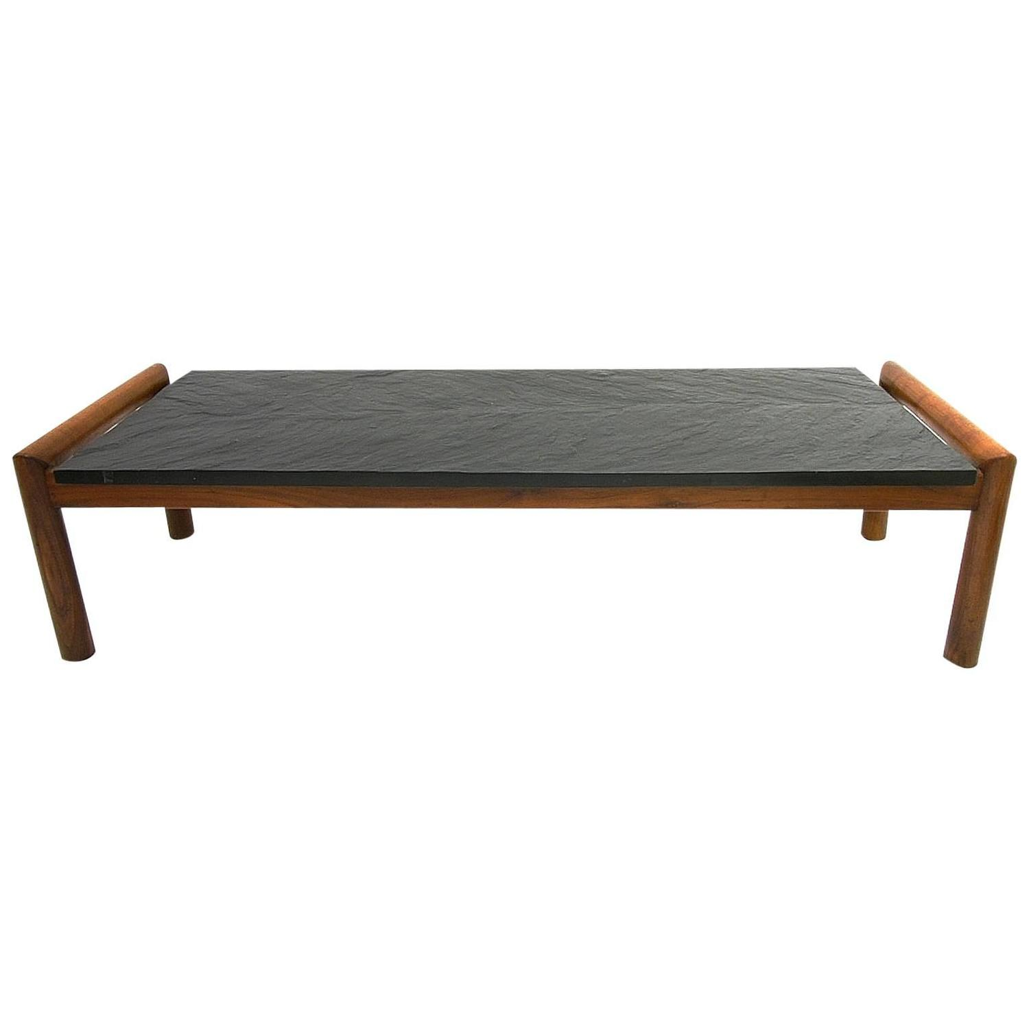Mid Century Modern Brutalist Slate and Walnut Coffee Table by