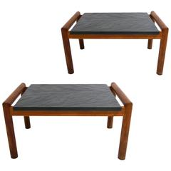 Mid-Modern Brutalist Slate and Walnut Bedside/ Side Tables by Adrian Pearsall