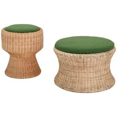 Eero Aarnio Rare Pair of Wicker Juttu Stools with Green Cushions, Finland, 1960s