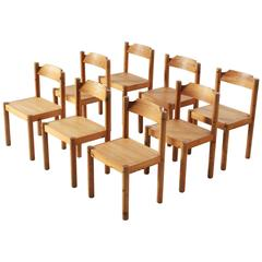 Set of Eight Danish Dining Chairs in Pine