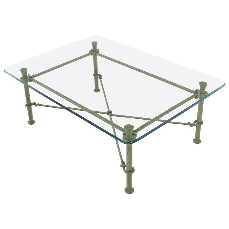 Rectangle Wrought Iron Base Glass Top Coffee Table For Sale