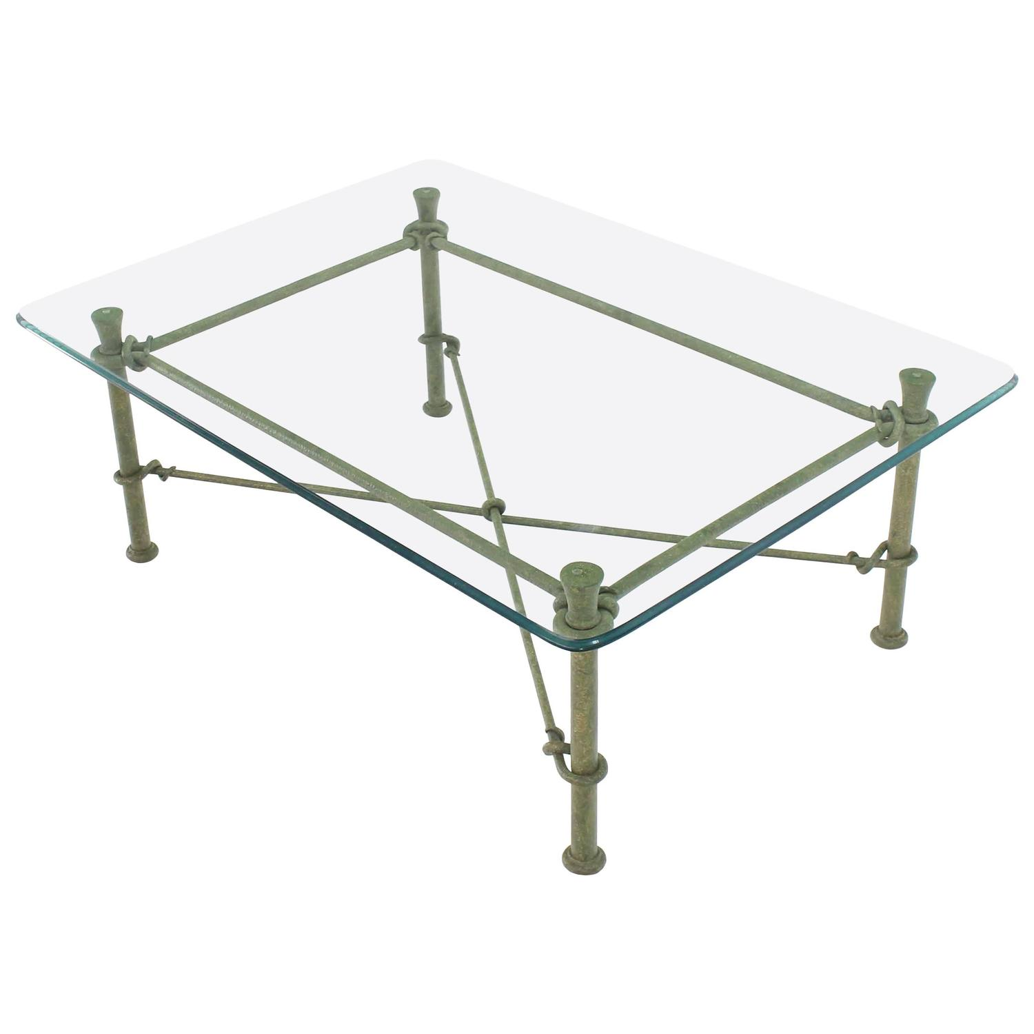 Rectangle wrought iron base glass top coffee table for for Round glass top coffee table wrought iron