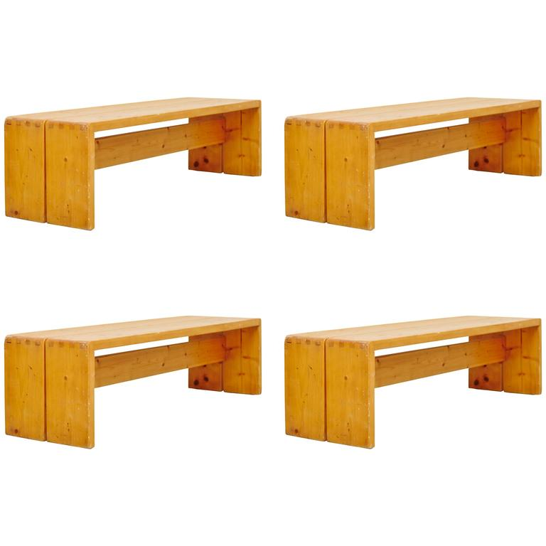 set of four charlotte perriand benches for les arcs for sale at 1stdibs. Black Bedroom Furniture Sets. Home Design Ideas