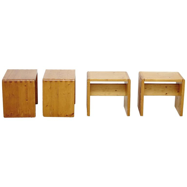 Set of Four Charlotte Perriand Stool for Les Arcs For Sale