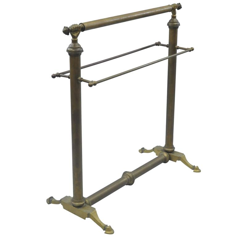Clasped Hands Victorian Andre Arbus Style Solid Brass Quilt or Towel Rack Stand For Sale