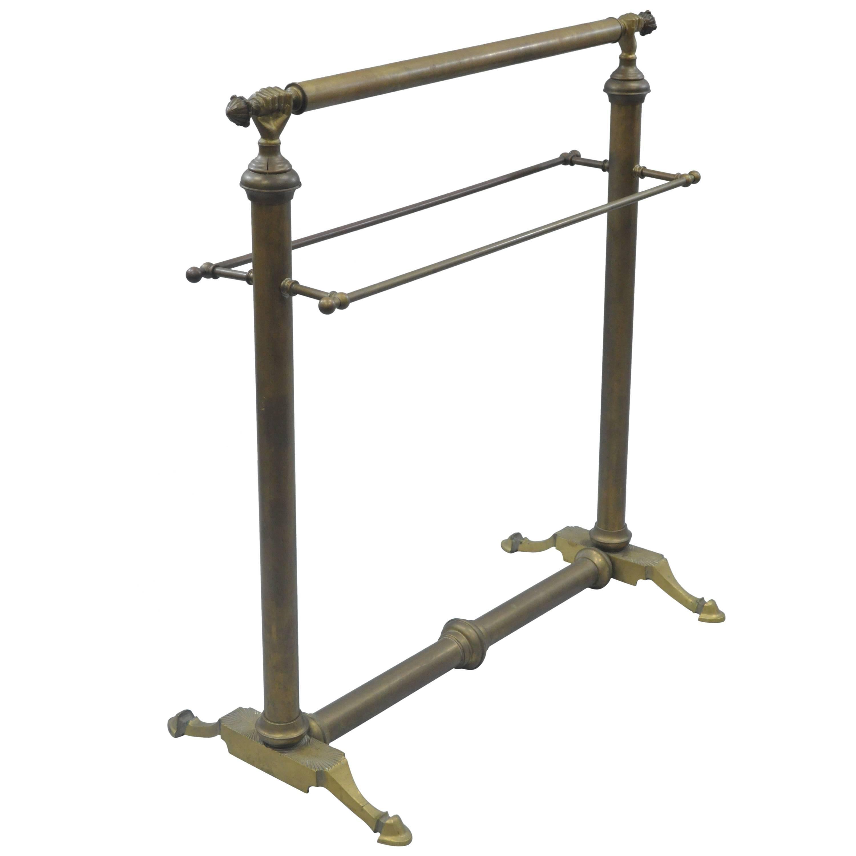 Clasped Hands Victorian Andre Arbus Style Brass Quilt Towel Rack Stand  Holder