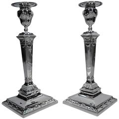 Tiffany Sterling Silver Candlesticks after English Neoclassical