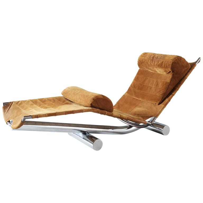 Paul Tuttle Chaise Longue 'Chariot' in Chrome and Suede