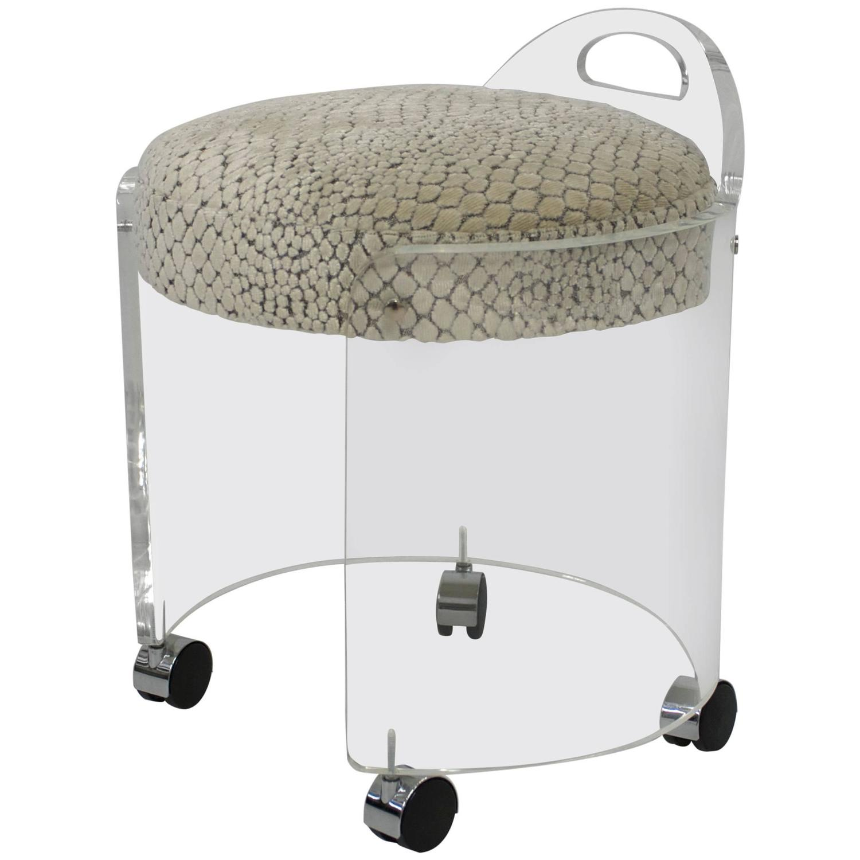 Lucite and velvet vanity stool at 1stdibs