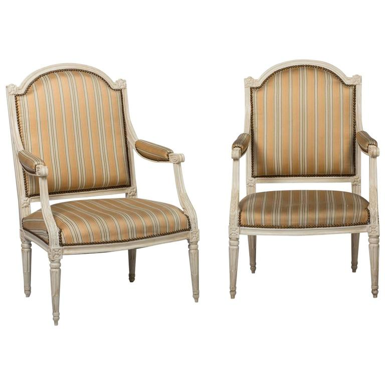 Pair of Louis XVI Fauteuils For Sale at 1stdibs