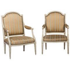 Pair of Large Louis XVI Painted Fauteuils