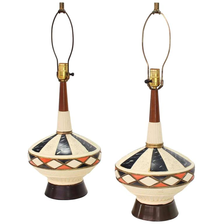 Pair of Walnut and Art Pottery Table Lamps For Sale