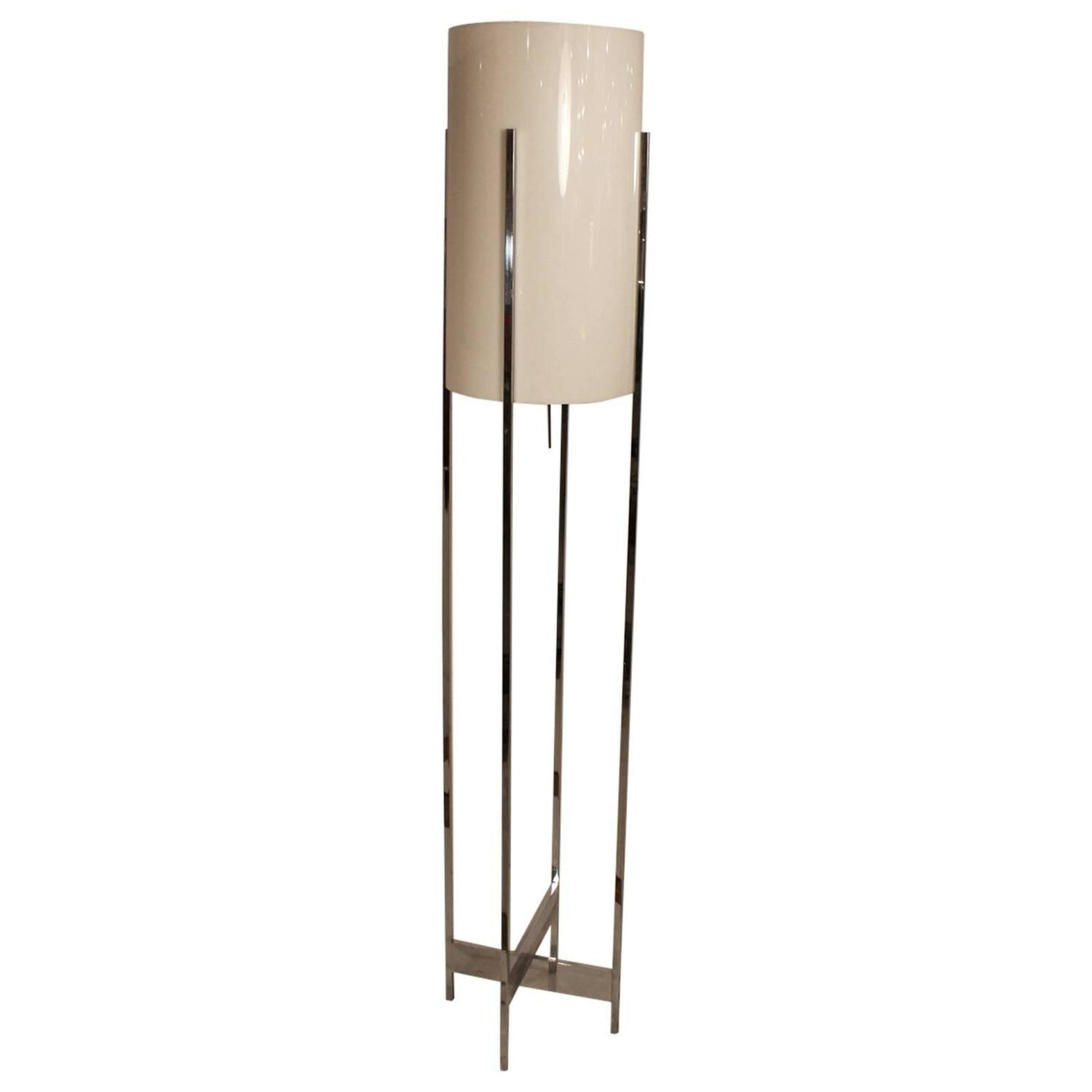 Chrome base floor lamp with lucite cylinder shade by for Floor lamp with cylinder shade